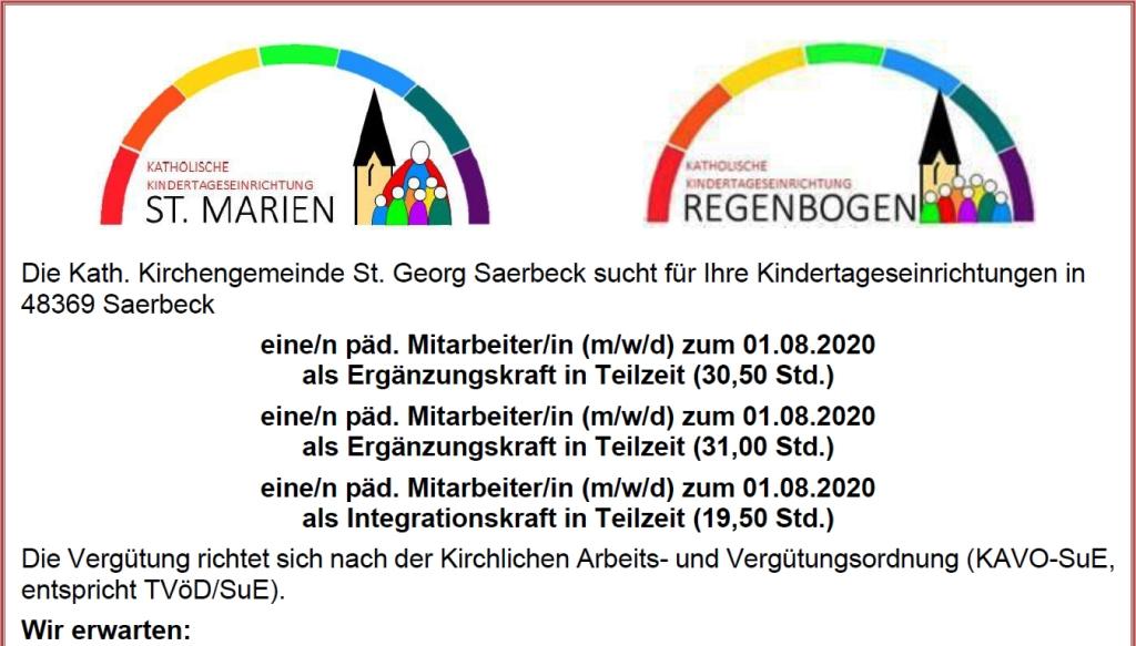 3 neue Stellen in den KiTa St. Marien und Regenbogen