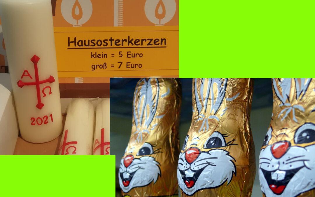 Osterkerzen und Osterhasen